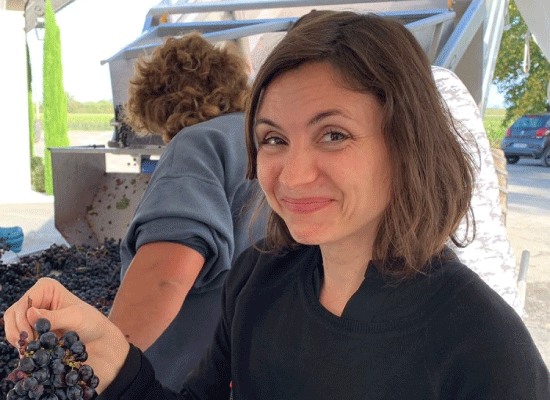 Maja attending the initial stages of winemaking