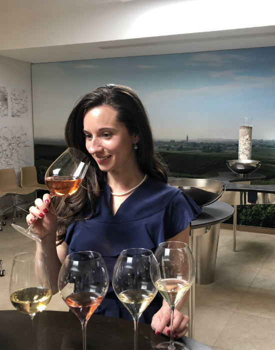 Emily at a wine tasting.