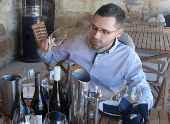Nicolas curating fine wines