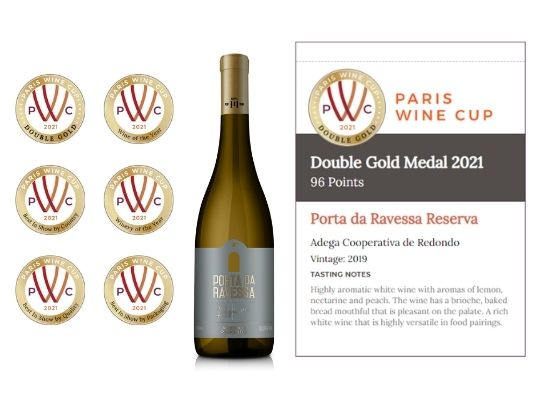 Porta da Ravessa Reserva from Portugal, No 1 Spot - 96 Points winning a Double Gold and wine of the year award